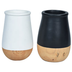 JARDIN Vase - Set of 2 - Black & White Wood - Nestasia Home Decor