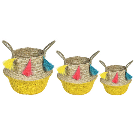 UFO Tassle Wicker Rattan Basket - Set of 3 - Yellow Pink & Blue