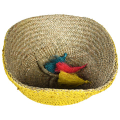 UFO Tassle Wicker Rattan Basket - Set of 3 - Yellow Pink & Blue - Nestasia Home Decor