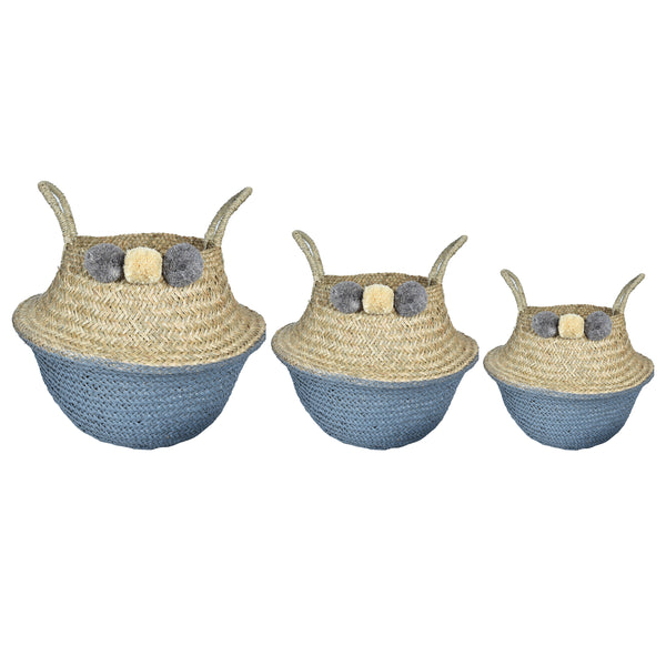 UFO Pom-Pom Basket- Set of 3- Grey & White