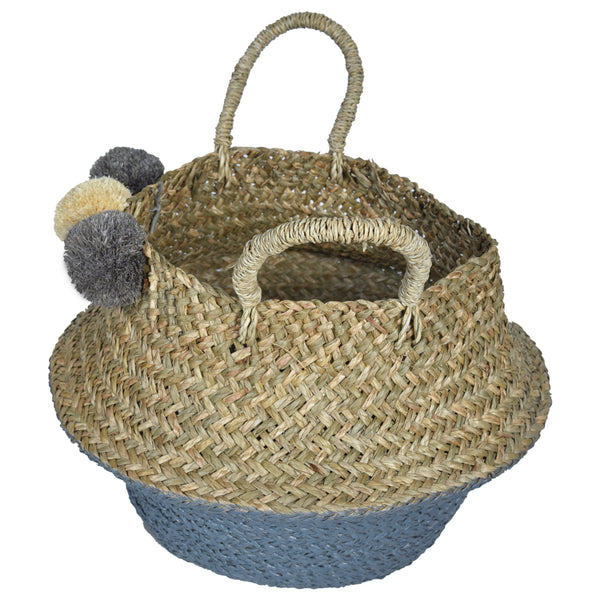 UFO Pom Pom Wicker Rattan Basket - Set of 3 - Grey & White