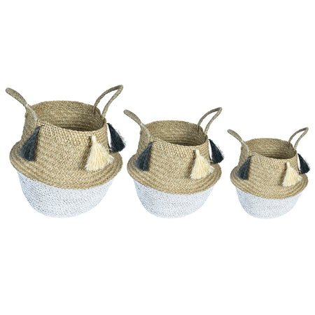 UFO Tassle Wicker Rattan Basket - Set of 3 - Grey & White