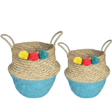 UFO Pom Pom Wicker Rattan  Basket - Set of 2 - Yellow, Red & Blue