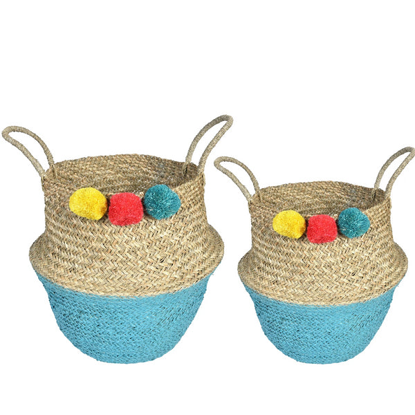 Set of 2 UFO basket with pom-poms-Yellow,Red,Blue - Nestasia Home Decor