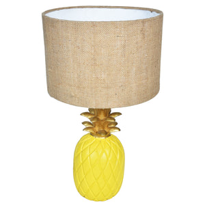TROPICAL Pineapple Lamp-Yellow & Gold-Jute Shade