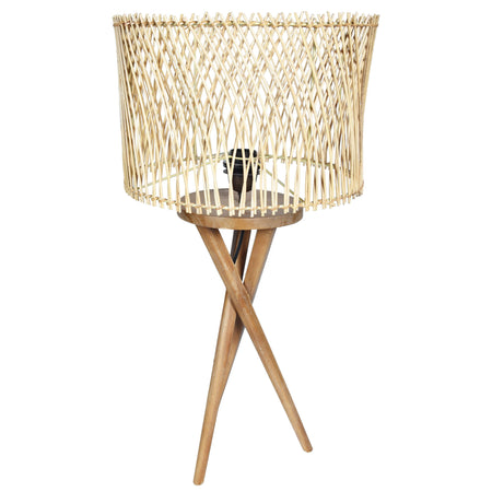 MINIMALIST Wooden Cris-Cross Lamp- Rattan Shade