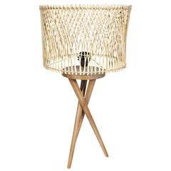 MINIMALIST Wooden Cris - Cross Lamp - Rattan Shade - Nestasia Home Decor