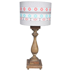 GYPSY Wooden lamp - Cream & Pink Boho Pattern Shade - Nestasia Home Decor
