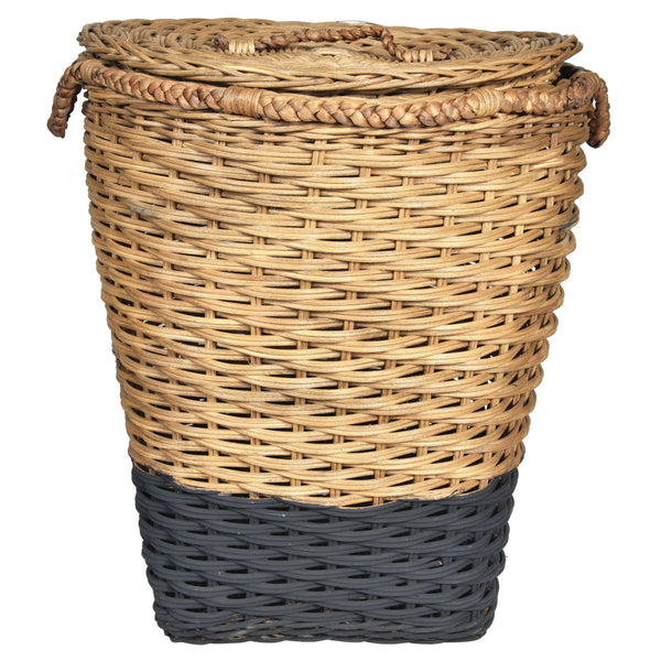 MOD Laundry Basket with Lid- Natural & Black