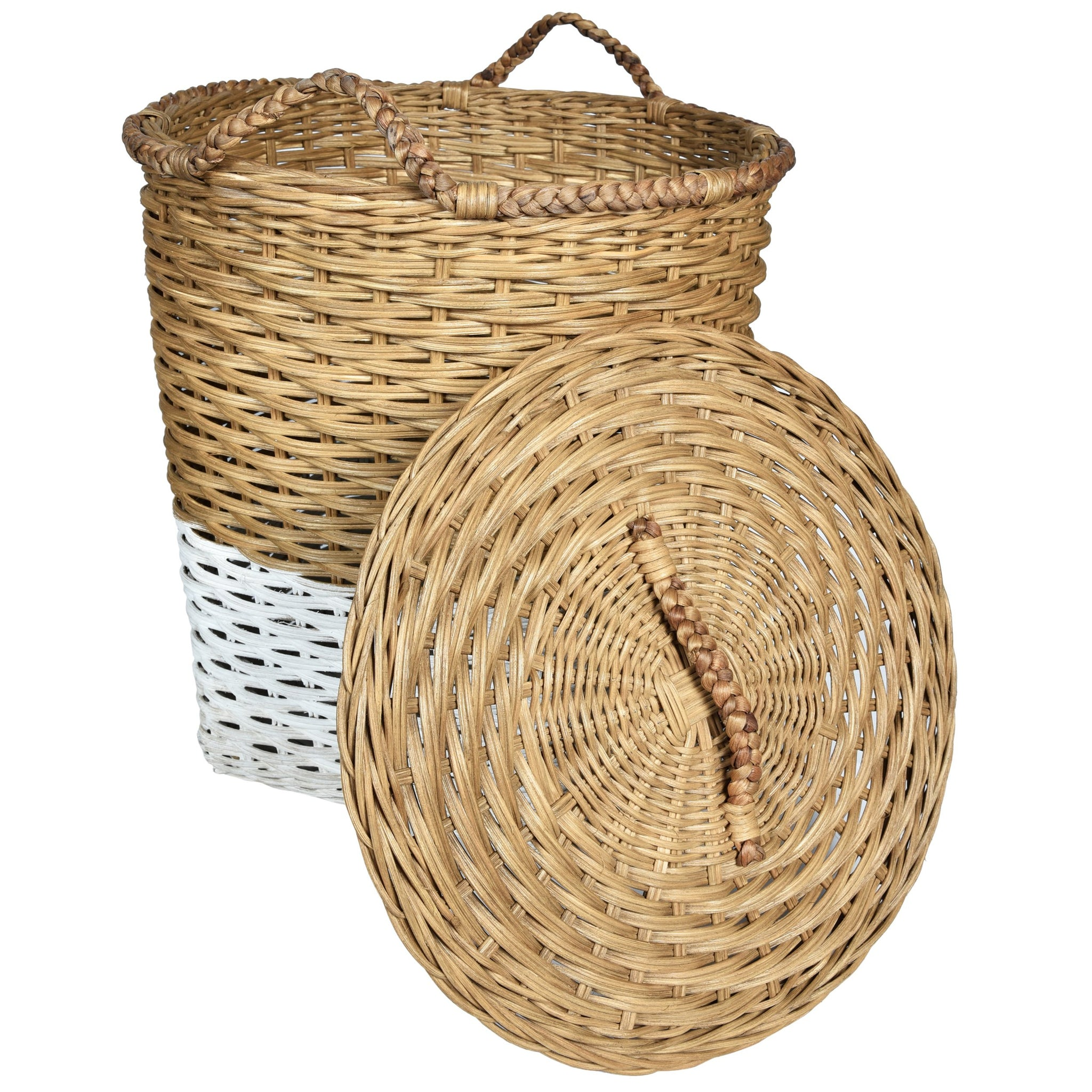MOD Laundry Storage Basket with Lid - Natural & White - Nestasia Home Decor