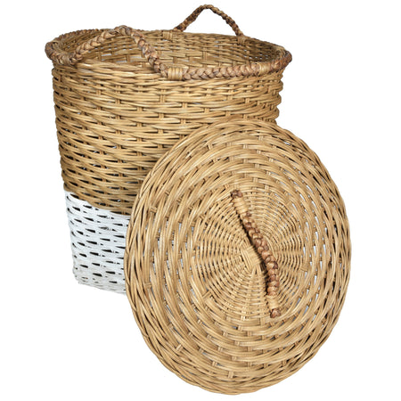 MOD Laundry Basket with Lid- Natural & White