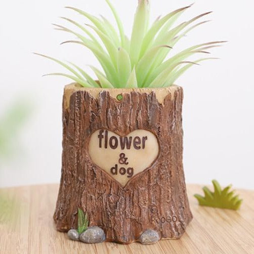 Dog in Log Planter Pot