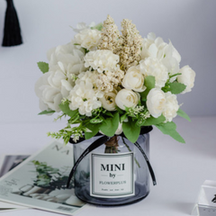 Faux Flowers With Vase White