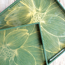 OLIVE Green Gold Floral Square Lacquer Tray (Set Of 2)