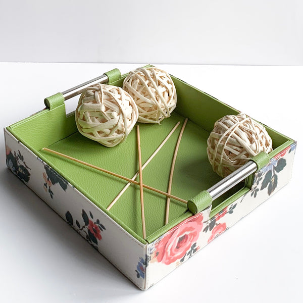 GLAM Jars Tissue Box and Tray Set - Green Floral white