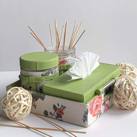 Nestasia Set of 2 Jars , Tissue Box and Tray with handle - Green Floral white ribbon bows - PU Leatherite - for gifts home Office - Glass cannister food safe green combination motif