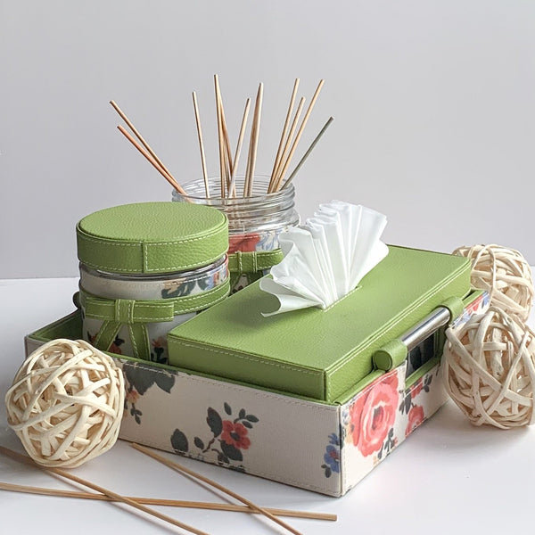 GLAM Jars Tissue Box and Tray Set - Green Floral white - Nestasia Home Decor
