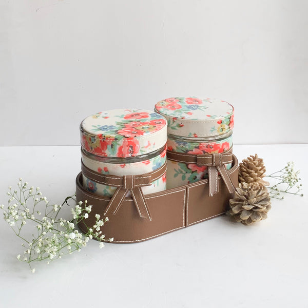 Set of 2 Jars and Oval Tray - cream floral and brown ribbon, bows - PU Leatherite - for gifts home Office - Two Glass cannister food safe green combination motif