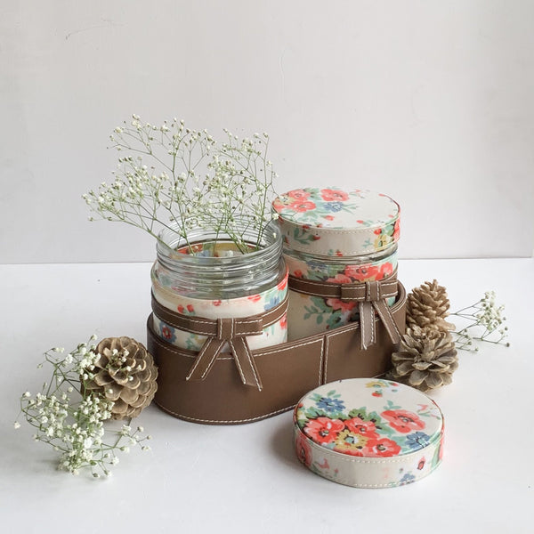 Nestasia Set of 2 Jars and Oval Tray - cream floral and brown ribbon, bows - PU Leatherite - for gifts home Office - Two Glass cannister food safe green combination motif