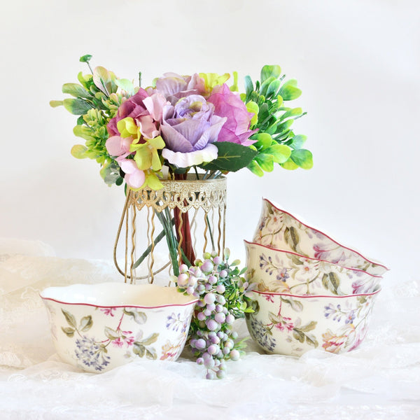 Ceramic bowl set of 4 with pink floral print