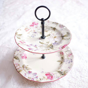 Two tier ceramic cake stand with floral motif
