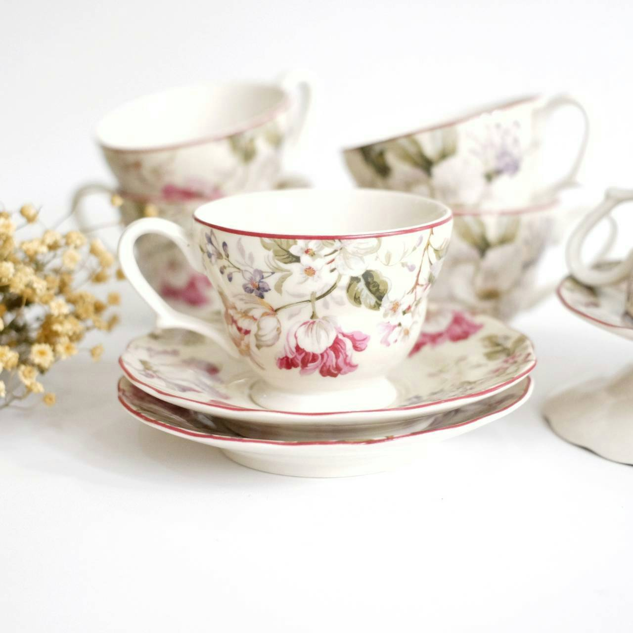 cup and saucer set of 6 with pink floral print