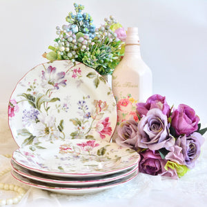 Salad plate set of 4 with pink floral print