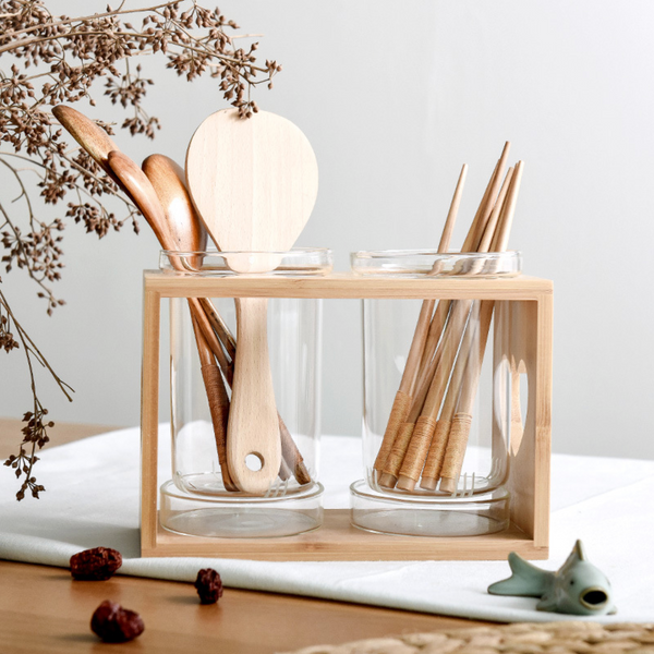 Glass Cutlery Holder