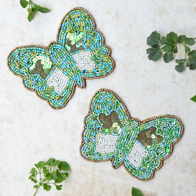 BEADS Butterfly Coaster - Green (Set of 2)