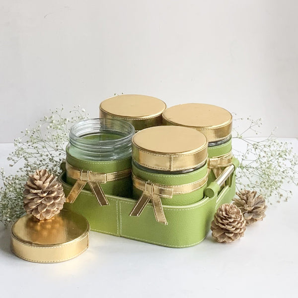 Nestasia Set of 4 Jars and Tray with handle - Green with Gold Lid, ribbon, bows - PU Leatherite - for gifts home Office - Four Glass cannister food safe green combination motif