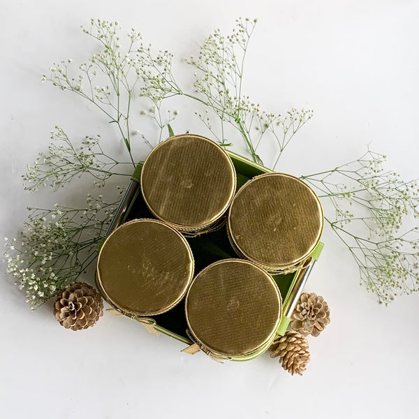 Set of 4 Jars and Tray with handle - Green with Gold Lid PU Leatherite - for gifts home Office
