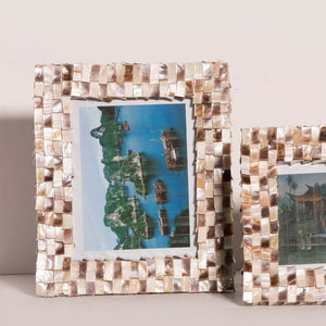 mother of pearl shell hand cut 3D photo frame
