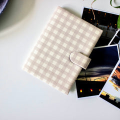 Checks Passport Cover- White & Grey - Nestasia Home Decor