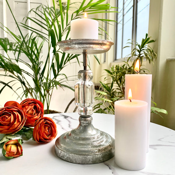 MAGNIFIQUE stem candle holder - Silver