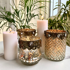MAGNIFIQUE Candle Holder with Brass Rim -  Set of 3