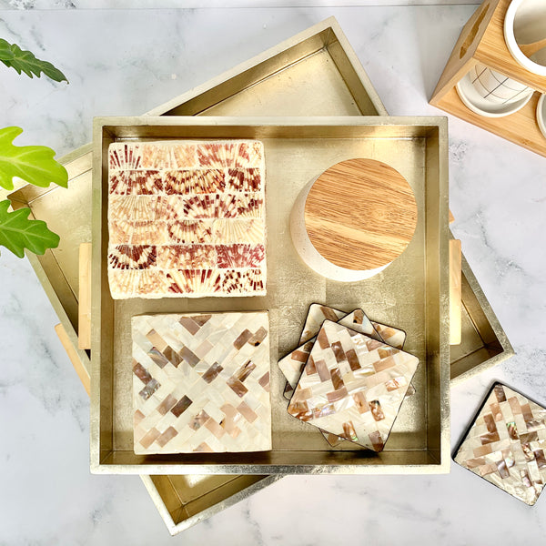 Mother of Pearl Coasters in a Box- Set of 6