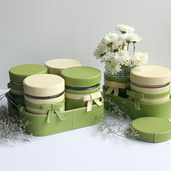 GLAM Jars and Tray Set - Green Off White - Nestasia Home Decor