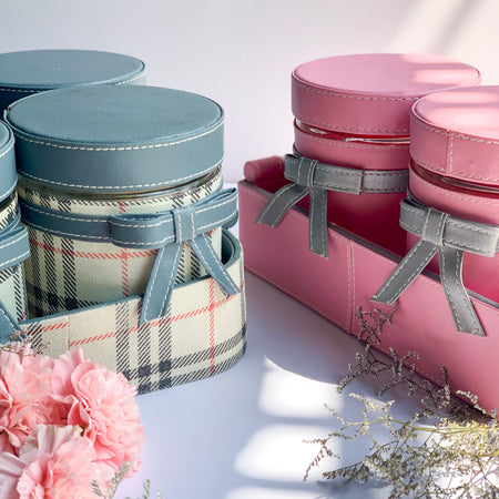 GLAM Jars and Tray Set - Light Pink and Silver