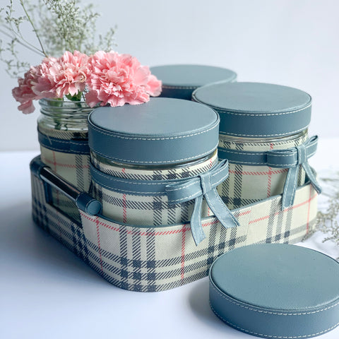GLAM Jars and Tray Set - Grey Checks Off White