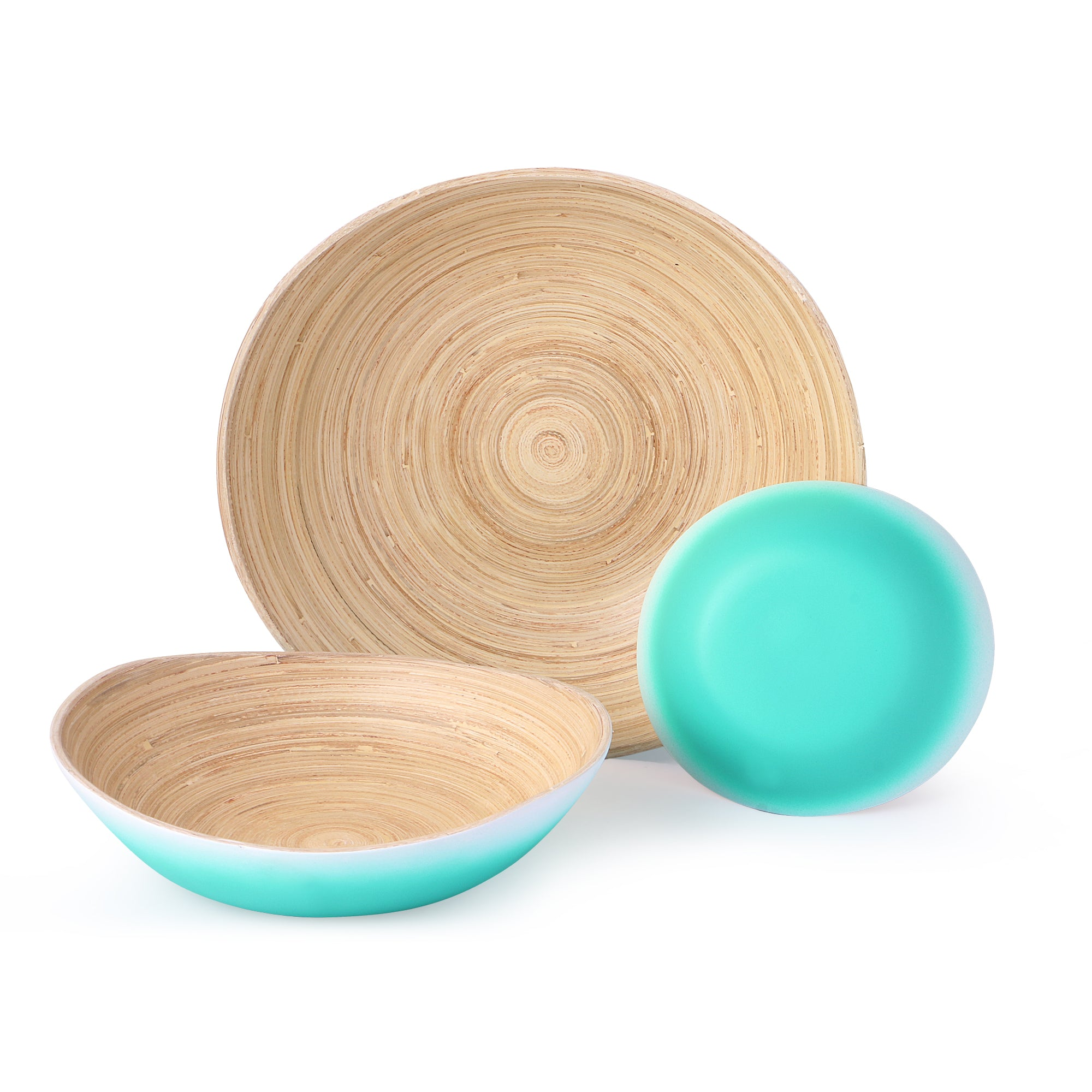 Bamboo Bowls- Matte Green & White Ombré (Set Of 3)