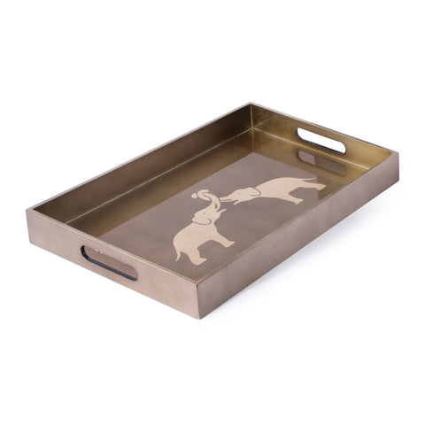 Elephant Design Rectangle Lacquer Tray-Grey