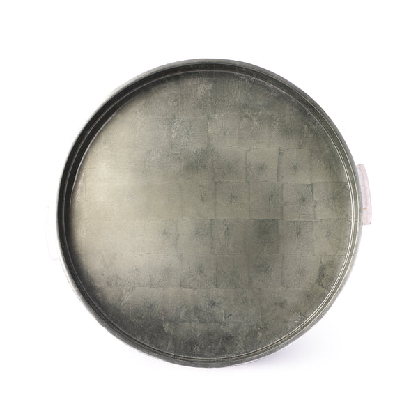 Mother Of Pearl Rim Round Lacquer Tray- Grey