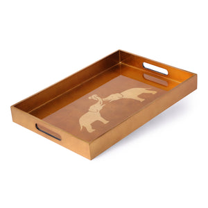 Rectangle Lacquer Tray With Elephant Design - Copper