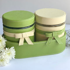 GLAM Jar & Oval Tray Set - Cream and Green - Nestasia Home Decor