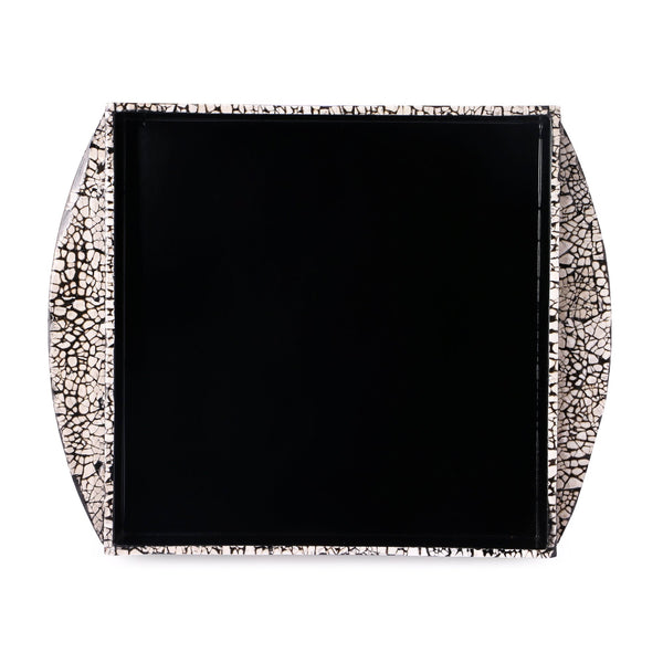 Galaxy Lacquer Tray With Handle-Black & White - Nestasia Home Decor