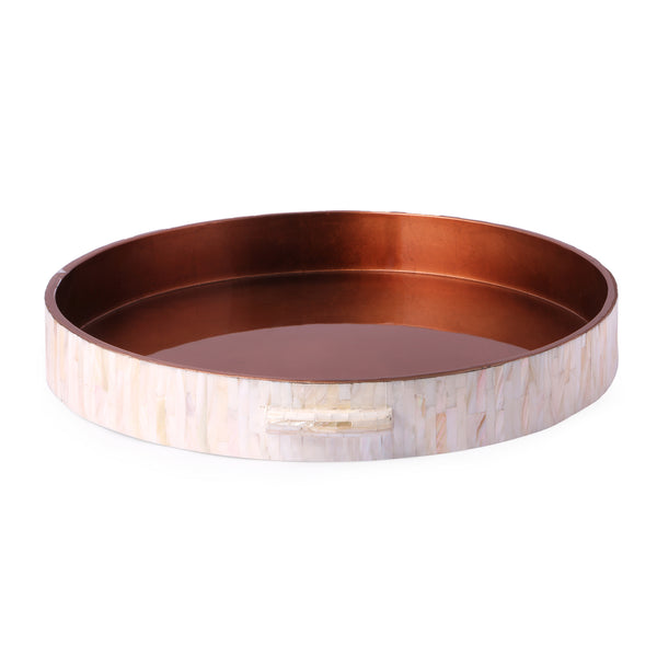 Mother Of Pearl Rim Round Lacquer Tray- Copper MOP