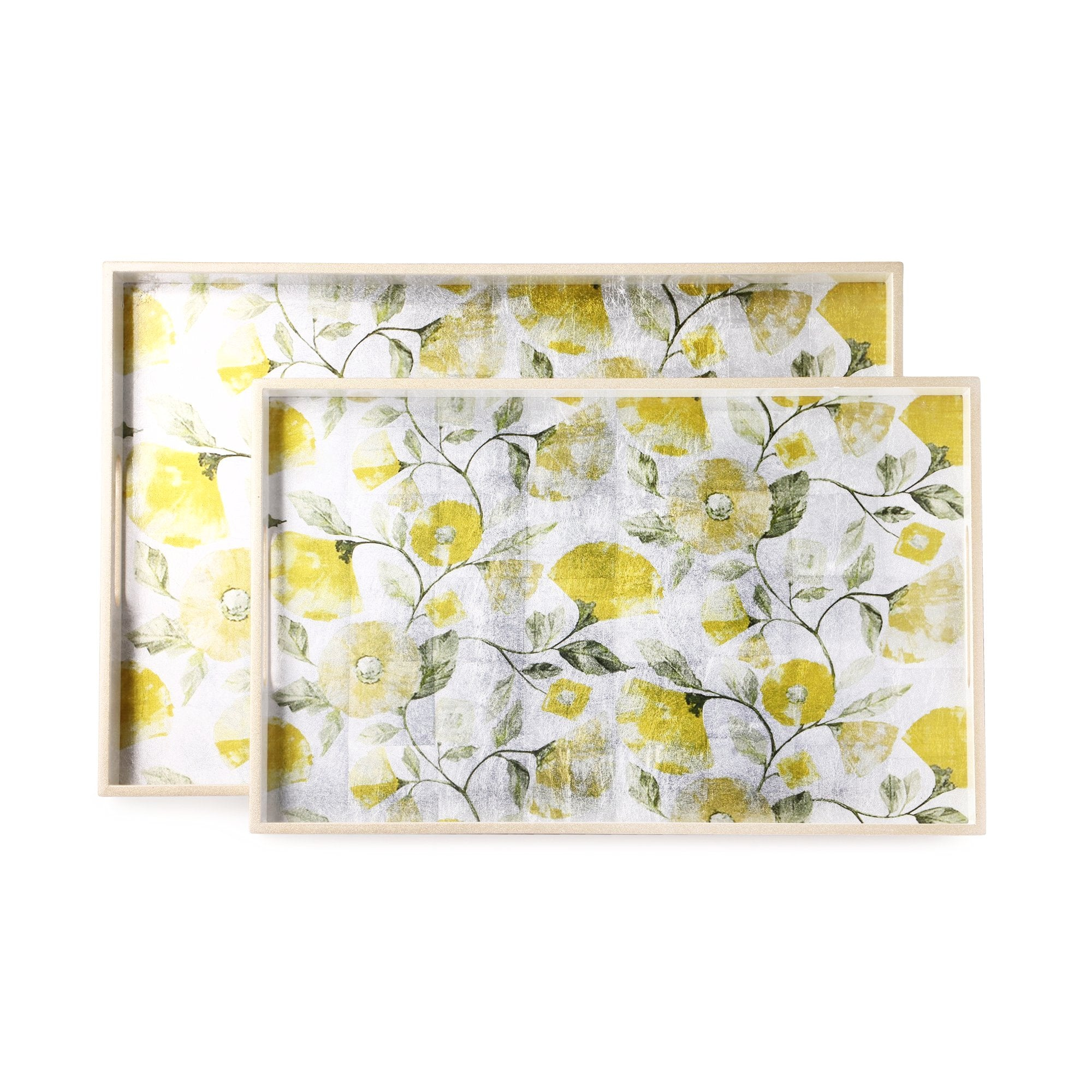 Floral Print On Foil Rectangle Lacquer Tray (Set Of 2)