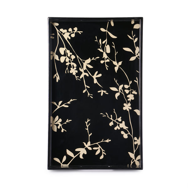 Black & Gold Bird Rectangle Lacquer Tray (Set Of 2) - Nestasia Home Decor