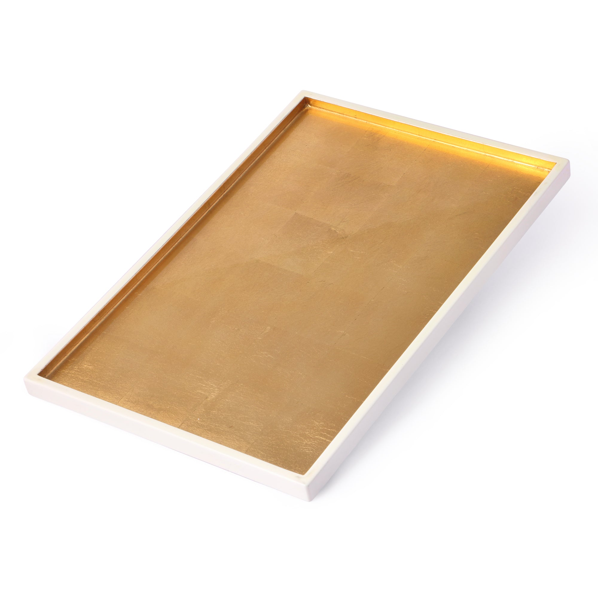 White & Gold Rectangle Lacquer Tray (Large)