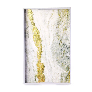 Marble & Gold Texture Lacquer Tray (Set Of 2)